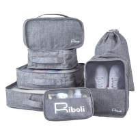 RIBOLI 7 Pcs Packing Cubes Set for Travel Bag Organizer for Luggage with Shoe Bag and Toiletry Bag and Laundry Bag Waterproof Polyester Grey