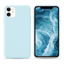 HONOVI iPhone 11 Open Bottom Liquid Silicone Case, Slim Anti Slip Case, Soft Touch Rubber Phone Case with Microfiber Lining for iPhone 11 6.1 Inch - Sky Blue
