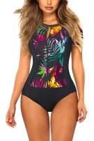 Viottiset Women's Floral Swimsuit Rashguard Short Sleeve Zipper Sun Protection Surfing One Piece Bathing Suit