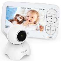 """HOMIEE Video Baby Monitor, with 720P Digital Camera, 5"""" LCD Screen up to 1000 Ft Range, Remote Camera Pan-Tilt-Zoom, Night Vision, Lullabies, Two-Way Audio Talk, Sound Temperature Alarm, Feeding Timer"""