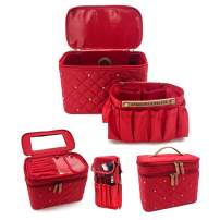 Angelina's Palace Jewelry Case Jewelry Box Travel Organizer Jewelry Storage Travel Case Napped Ring Stays and Pouches for Earrings/Nacklaces/Ring