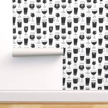 Spoonflower Pre-Pasted Removable Wallpaper, Beer Glasses Man Drink Belgian Black and White Kitchen Print, Water-Activated Wallpaper, 24in x 108in Roll