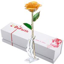 DEFAITH 24K Gold Dipped Real Rose Gifts, Best Wedding Anniversary Valentines Day Love Gift for Her Wife Girlfriend Spouse, Yellow with Stand
