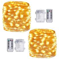 TingMiao 2 Pack Fairy Lights Battery Operated String Lights with Remote Control Timer, 33Ft 100 LED Waterproof 8 Modes Copper Wire Twinkle String Lights for Bedroom Indoor, Warm White