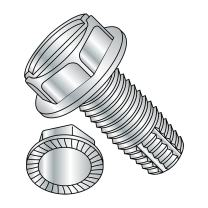 "Steel Thread Cutting Screw, Zinc Plated Finish, Serrated Hex Washer Head, Slotted Drive, Type F, #12-24 Thread Size, 1/2"" Length (Pack of 100)"