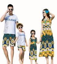 Elufly Summer Family Matching Outfits Floral Mommy Daughter Dresses & Daddy Babies T-Shirt Pants Parent-Child Clothing (Boys A, Size 130)