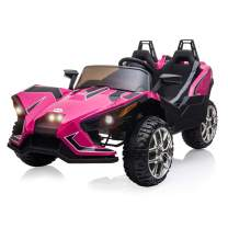 BAHOM 12V Kids Ride On Cars 2 Seats, Electric Vehicle for Kids with Manual/Parent Remote Control, LED Lights / Music / 2 Speed (Pink)