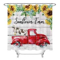LB Sunflower Cow Red Truck Shower Curtain Set Rustic Barn Wood Farmhouse Shower Curtains for Bathroom with Hooks 72x72 inch Waterproof Polyester Fabric Bathroom Decorations