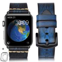 HUAFIY Compatible iWatch Band 38mm 40mm 42mm 44mm Men, Top Grain Leather Band Replacement Strap iWatch Series 5/4/ 3/2/1,Sport, Edition.New Arrival (Blue, 38mm 40mm)