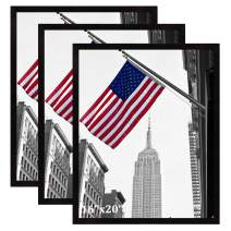 IGxx 16x20 Frame Black Poster Frame Solid Wood Wall Hanging Gallery Art Picture Frame for 16 by 20 inch Print, Set of 3