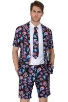 MAGE MALE Men's Summer 2 Piece Suit Casual Beach Print Short Sleeved Blazer Shorts and Tie Sets