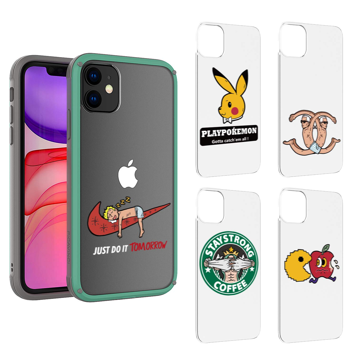 PICAVINCI SwitchME iPhone 11 Case, Cool Funny Lazy Man Do Tomorrow Cartoon Blue Clear Matte Protective Cover Pack