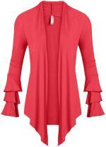Simlu Womens Open Front Cardigan Sweater Ruffle Long Sleeve Cardigan Reg and Plus Size - Made in USA