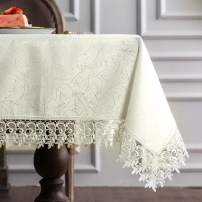 "ARTABLE Classic Rectangular Luxurious Macrame Lace Tablecloth Stain Resistant Polyester Embroidered Oblong Table Cloth for Wedding Holiday Long Dinner Tables (Ivory, 60"" x 84"")"