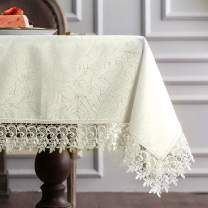 """ARTABLE Classic Rectangular Luxurious Macrame Lace Tablecloth Stain Resistant Polyester Embroidered Oblong Table Cloth for Wedding Holiday Long Dinner Tables (Ivory, 60"""" x 104"""")"""