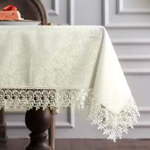 "ARTABLE Classic Rectangular Luxurious Macrame Lace Tablecloth Stain Resistant Polyester Embroidered Oblong Table Cloth for Wedding Holiday Long Dinner Tables (Ivory, 60"" x 104"")"
