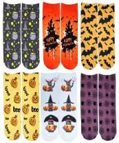 SherryDC Men's Halloween Pumpkins Bats Novelty Fun Crew Length Casual Dress Socks 2-Pack