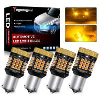 Teguangmei Turn Signal Light Bulbs,No Hyper Flash 1850Lumen 45SMD 1156 BAU15S 7507 PY21W Canbus Error Free LED Front and Rear Turn Signal Lights Bulb Amber Yellow Pack of 4
