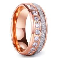 King Will Meteor Men's 8mm Titanium Rose Gold/Silver/Blue Domed Imitated Meteorite Wedding Band Cubic Zirconia