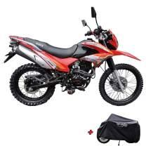 X-Pro Hawk 250 Dirt Bike Motorcycle Bike Dirt Bike Enduro Street Bike Motorcycle Bike with Motorcycle Cover,Red