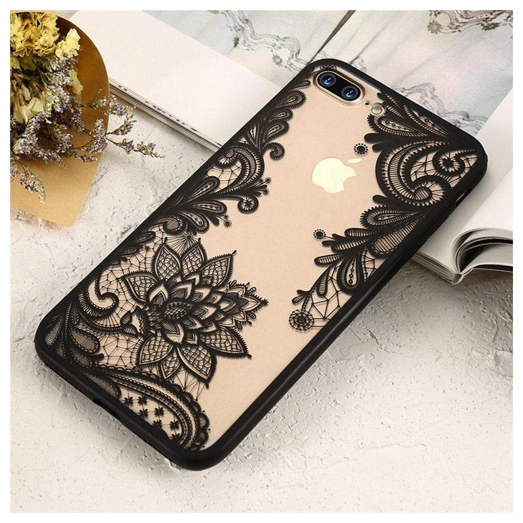 Mixneer Luxury Lace Flower Case for iPhone 8 Plus 8 7 Vintage Floral Case for iPhone 7 Plus 11 7 6S 6 Plus 5S 5 XS Max XR X Bag Compatible with iPhone 11 - Black