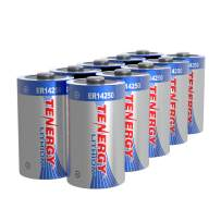 Tenergy High Capacity 3.6V 1/2 AA Lithium Battery, 1200mAh ER14250 Non-Rechargeable Batteries for Alarm Systems, Home Security Sensors, Smart Dog Collars, Utility Meters, UL Certified, 10 Pack