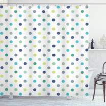 "Ambesonne Polkadot Shower Curtain, Polka Dots Retro Classy Vintage Style Pattern Design Layout, Cloth Fabric Bathroom Decor Set with Hooks, 75"" Long, Navy Turquoise"
