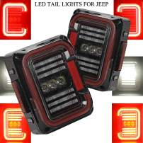 "AUDEXEN LED Tail Lights Compatible with Jeep Wrangler JK JKU 2007-2018, Unique""C"" Shaped Design Clear Lens, 20W Reverse Lights, Built-in EMC, DOT Compliant, 2 PCS"