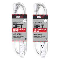 2 Pack of 3 Ft Extension Cords with 3 Electrical Power Outlets - 16/3 Durable White Cable