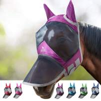Harrison Howard CareMaster Pro Luminous Horse Fly Mask Standard with Ears UV Protection for Horse