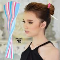RC ROCHE ORNAMENT 12 Pcs Womens Fashion Hair Sticks Flat Twist Plastic Stylish Chopstick Bun Maker Updo Hairpins Premium Quality Beauty Accessory Girls Ladies, Medium Pastel Multicolor