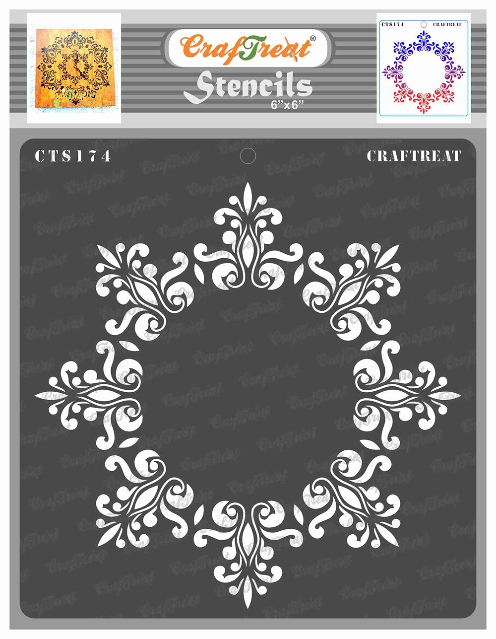 CrafTreat DoilyMandala Stencils for Painting on Wood, Canvas, Paper, Fabric, Floor, Wall and Tile - Octagon Doily - 6x6 Inches - Reusable DIY Art and Craft Stencils - Octagon Stencil