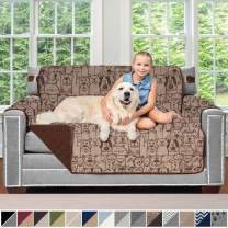 Sofa Shield Original Patent Pending Reversible Loveseat Protector for Seat Width up to 54 Inch, Furniture Slipcover, 2 Inch Strap, Couch Slip Cover Throw for Pets, Kids, Dogs, Love Seat, Dog Chocolate