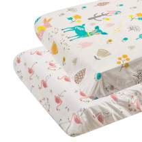 "ALVABABY Pack n Play Baby Play Playard Sheets, 2pcs 100% Organic Cotton,Large 27x39x4"",Soft and Light,Portable Crib Sheet for Boys and Girls Player Matteress 2FTPSW08"