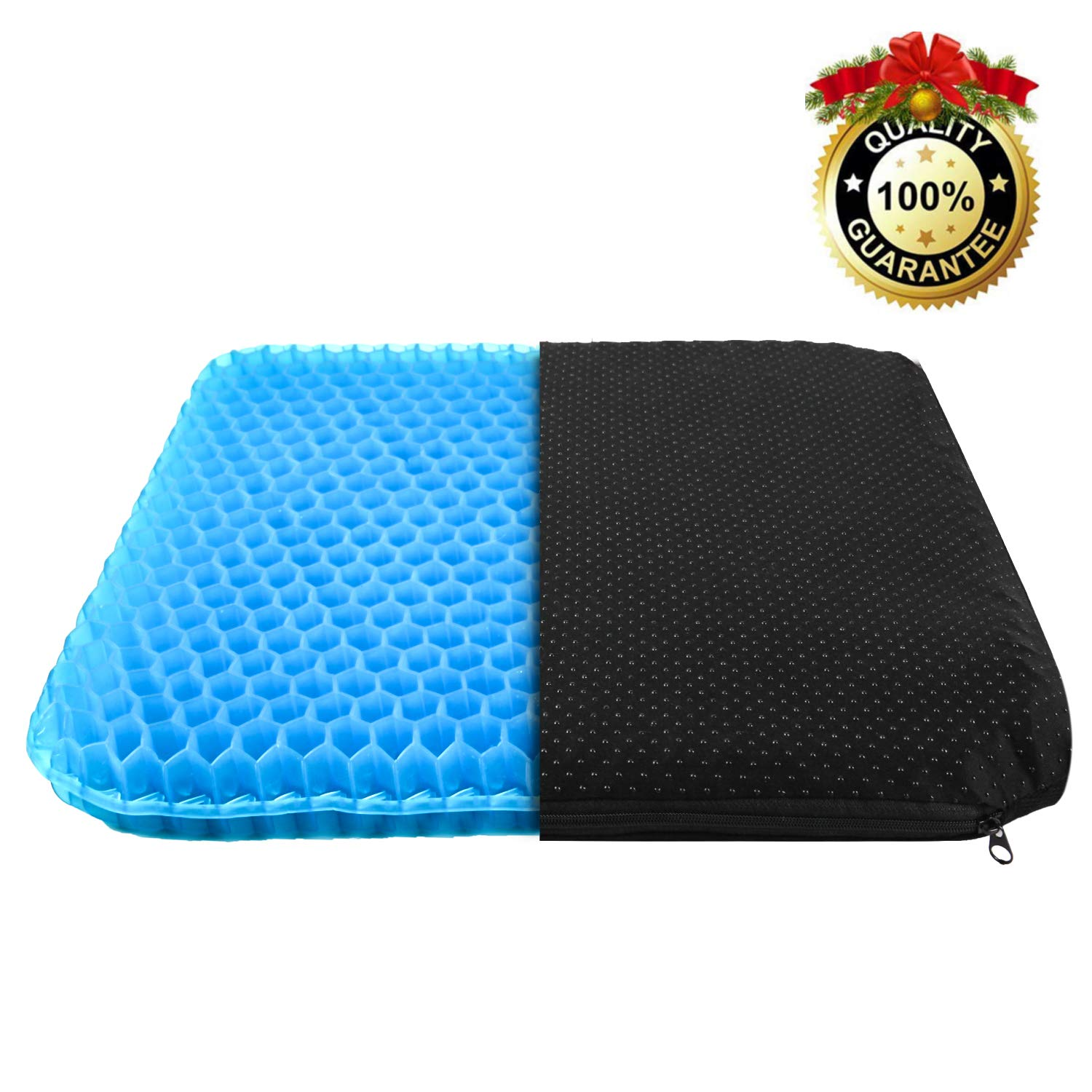 LETTON Gel Seat Cushion,Thickened Double-Layer Seat Cushion for Back & Tailbone Pain Relief Cushion,Honeycomb Structure Breathable seat Cushion for Office/Car/Wheelchair with Cushion Cover