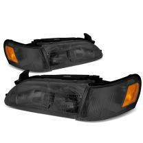 Replacement for Corolla Pair Smoked Housing Amber Corner Bumper Driving Headlight/Lamps