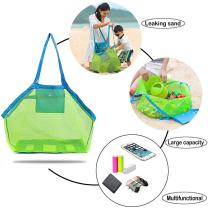 2PCS Beach Mesh Tote Bag - Large Foldable Sand Away Children Beach Toys Organizer Storage Bags,Mesh Bag tote Baby Collection Nappy, Perfect for Swim Pool & Kids Bath Shower Toys Storage Bags Packs
