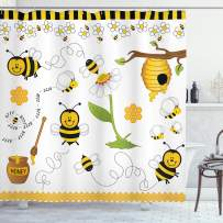 """Ambesonne Collage Shower Curtain, Flying Bees Daisy Honey Chamomile Flowers Pollen Springtime Animal Print, Cloth Fabric Bathroom Decor Set with Hooks, 70"""" Long, Yellow White"""