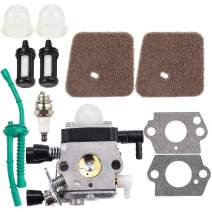 Dalom FS55 FS55R Carburetor w Air Filter Fuel Line Kit for Sthil Trimmer FS38 FS45 FS46 FS45C KM55 KM55R FS45L FS46C FS55C FS55T FS55RC HS45 HL45 Edger Weed Eater C1Q-S186