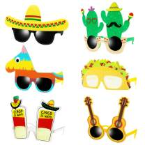 Ocean Line Fiesta Party Supplies Glasses - 6 Pairs Mexican Themed Costume Sunglasses, Cinco De Mayo Photo Booth Props for Taco Tout Donkey Pinatas Cactus Decoration