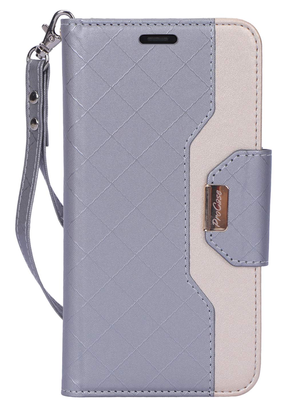 ProCase iPhone 11 Pro Max Wallet Case for Women Girls, Folding Flip Case with Card Holder Wrist Strap for iPhone 11 Pro Max 6.5 Inch 2019 –Grey