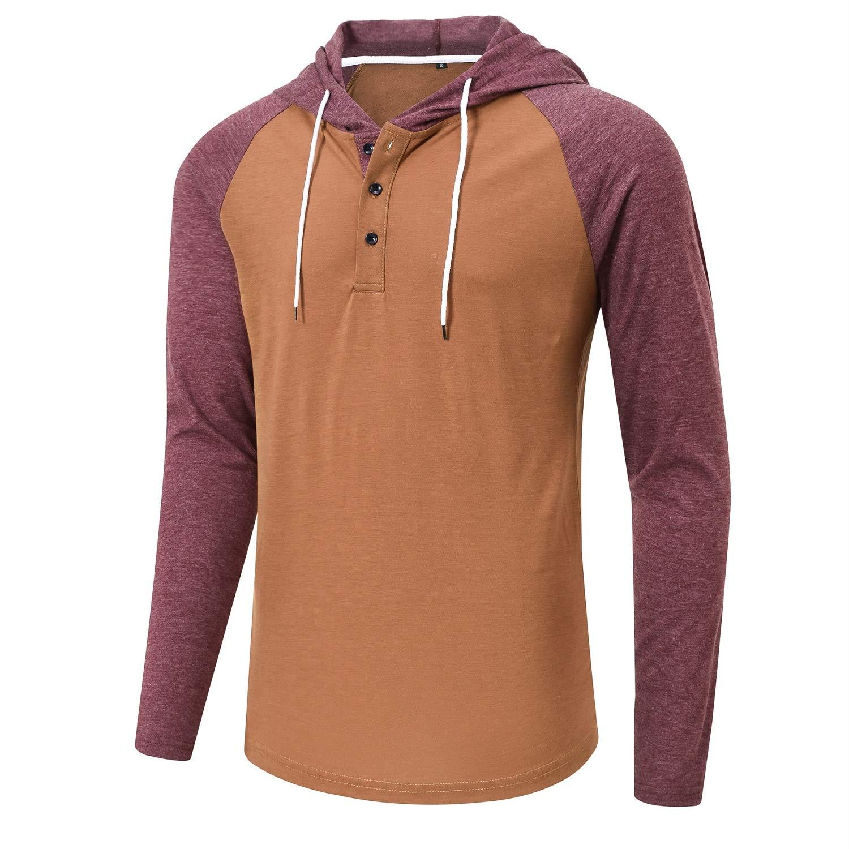 Satankud Men's T-Shirt Workwear Casual Mens Henley Shirt Lightweight