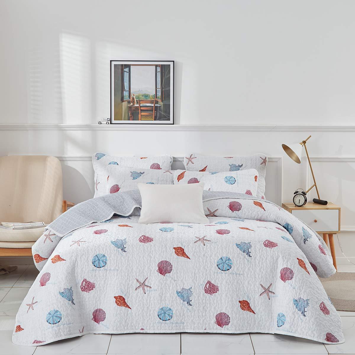 Uozzi Bedding 3 Piece Reversible Gray Ocean Quilt Set King Size 104x90 Soft Microfiber Lightweight Summer Coverlet with Conch Starfish callop (1 Quilt + 2 Shams)
