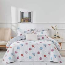 Uozzi Bedding 3 Piece Reversible Gray Ocean Quilt Set King Size 104x90 Soft Microfiber Lightweight Summer Coverlet with Conch Starfish callop (1 Quilt + 2 Shams)