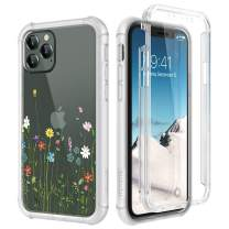 "SURITCH Clear Case for iPhone 11 Pro, [Built-in Screen Protector] Shockproof Hybrid Full Body Rugged Bumper Transparent with Floral Pattern Protective Case for iPhone 11 Pro 5.8"" (Colorful Flowers)"