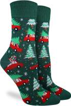 Good Luck Sock Women's Christmas Trees Socks - Green, Adult Shoe Size 5-9