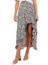 MEROKEETY Womens Floral Print High Waist Ruffles Split Bohemian Beach Midi Skirt