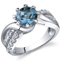 Regal Helix 1.50 carats London Blue Topaz Ring in Sterling Silver Rhodium Nickel Finish Sizes 5 to 9