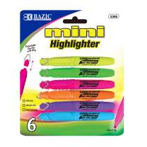 BAZIC Mini Fluorescent Highlighter w/Cap Clip (6/Pack) (Box of 24)