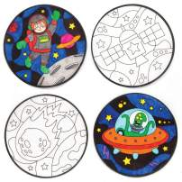 Baker Ross Solar System Colour - in Window Decorations (Pack of 12) for Kids Arts and Crafts